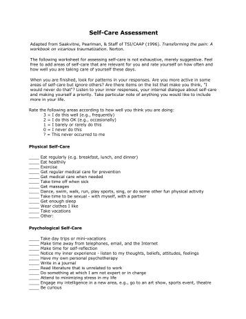 Worksheet Self Care Worksheets self care assessment worksheet intrepidpath essment 4
