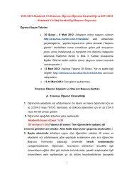 1 2012-2013 Akademik Yılı Erasmus Öğrenci Öğrenim Hareketliliği ...