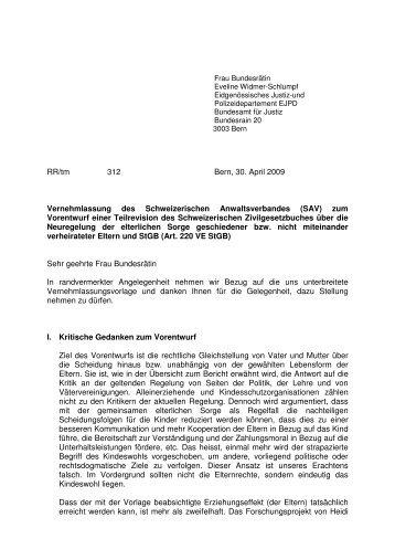 Vernehmlassung des Schweizerischen ... - Frauenzentrale