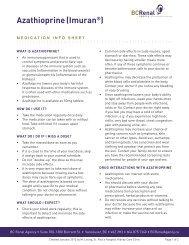 Pharmacy Info Sheet: Azathioprine (Imuran®) - BC Renal Agency