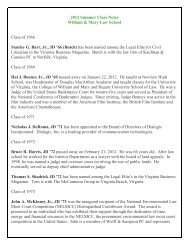 2012 Summer Class Notes William & Mary Law School Class of ...