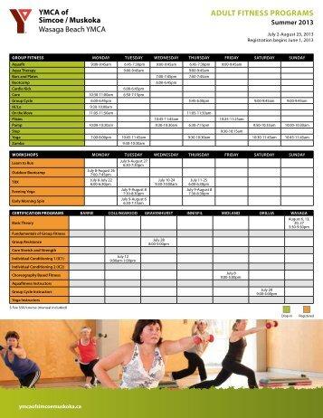 ADULT FITNESS ProgrAMS - YMCA of Simcoe/Muskoka