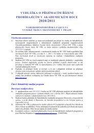 vyhláška o přijímacím řízení probíhajícím v akademickém roce 2010 ...