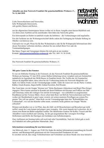 Nr.8 / Juli 2010 - Netzwerk Frankfurt für gemeinschaftliches Wohnen ...