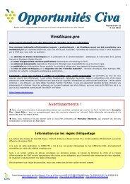 Opportunités Civa - Vins d'Alsace