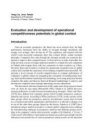 Evaluation and development of operational competitiveness ...
