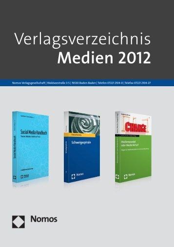 Verlagsverzeichnis Medien 2012 - Zum Nomos-Shop