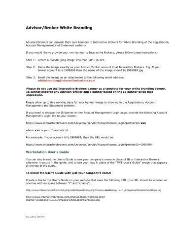 Advisor/Broker White Branding - Interactive Brokers