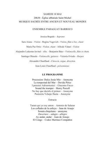 Présentation et programme 18 mai 2013 - CD Baroque - K617