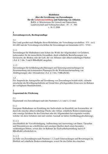 Richtlinien über die Gewährung von Zuwendungen für ... - Ziel2.NRW