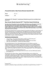 Presseinformation: Best Human Brands Awards® 2011 Best Human ...