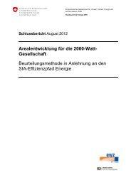 Arealentwicklung für die 2000-Watt - 2000-Watt-Gesellschaft