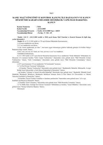 5436 Sayılı Kamu Mali Yönetimi ve Kontrol Kanununda Değişiklik