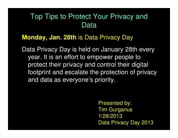 Top Tips to Protect Your Privacy and Data - OIT Website