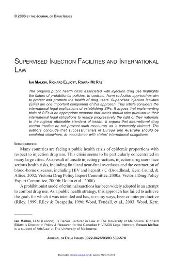 supervised injection facilities and international law - Journal of Drug ...