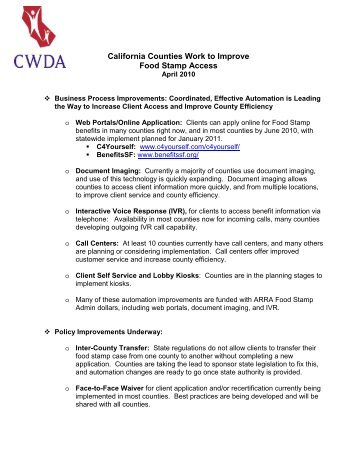 California Food Stamp Access Fact Sheet Cwda