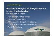 Markterfahrungen im Biogasbereich in den Niederlanden