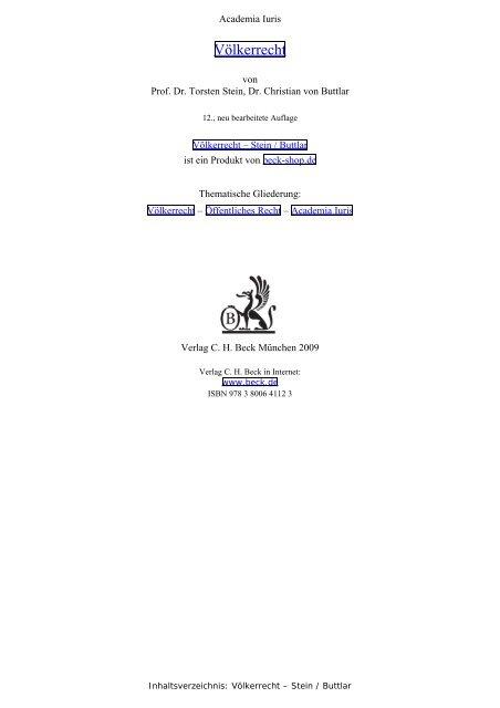 Völkerrecht - Stein / Buttlar, Inhaltsverzeichnis