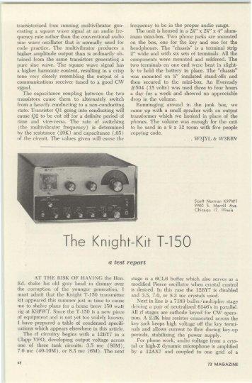 The Knight-Kit T-150 - Nostalgic Kits Central