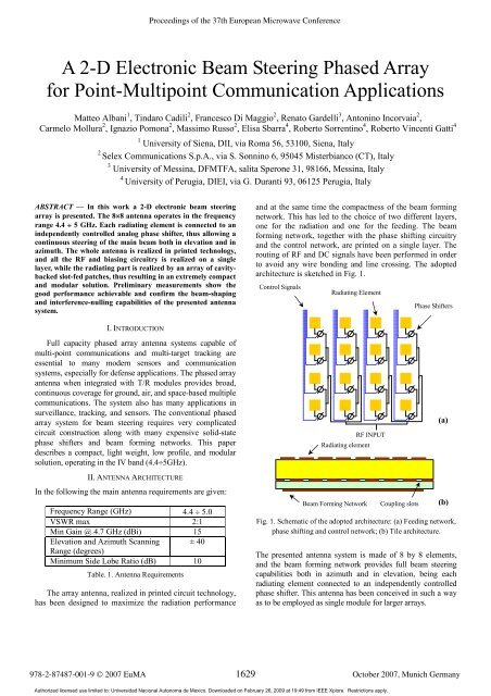 EuMC: A 2-D Electronic Beam Steering Phased Array for Point