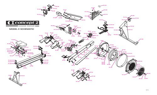 Model E Indoor Rower Master Schematic and Parts ID List
