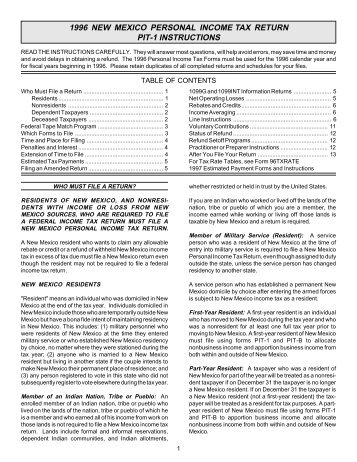 2010 New Mexico Fiduciary Income Tax Instructions FORM FID-1