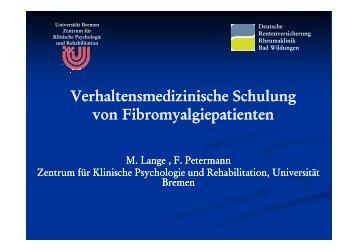 Verhaltensmedizinische Schulung von Fibromyalgiepatienten ...