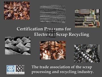 Certification Programs for Electronic Scrap Recycling