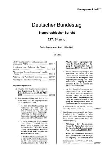 Stenographischer Bericht 227. Sitzung - Deutscher Bundestag