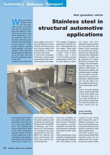 Stainless steel in structural automotive applications