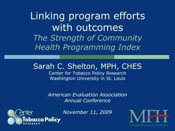 The Strength of Community Health Programming Index - Center for ...