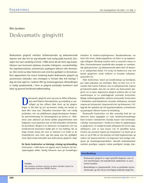 Deskvamativ gingivitt - Den norske tannlegeforenings Tidende