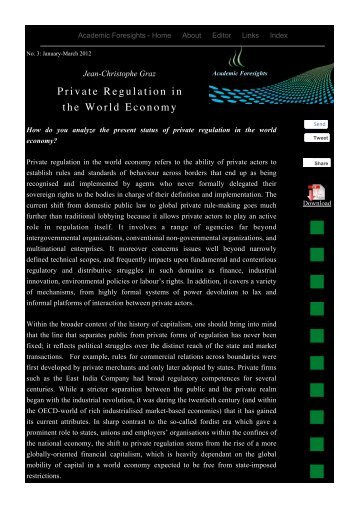 Private Regulation - Academic Foresights