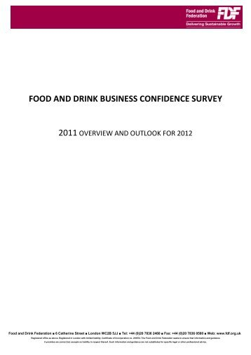 FDF Food and Drink Business Confidence Survey – Overview 2011