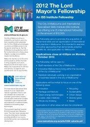 2012 The Lord Mayor's Fellowship - International Specialised Skills ...