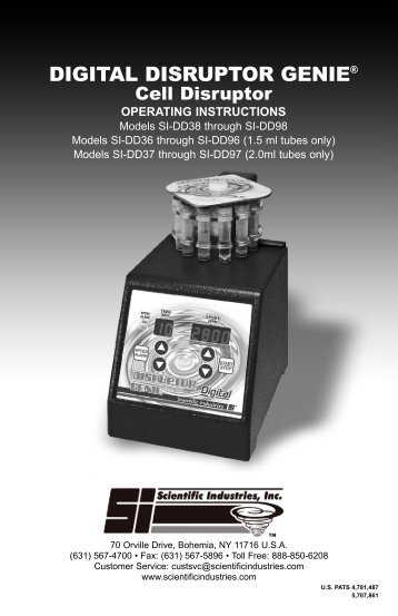 DIGITAL DISRUPTOR GENIE® - Scientific Industries, Inc.