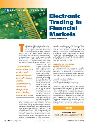 Electronic trading systems financial markets