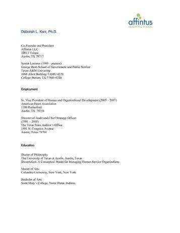 Deborah L. Kerr, Ph.D. - Bush School of Government and Public ...