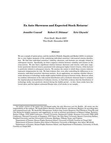 Ex Ante Skewness and Expected Stock Returns∗ - EFA 2010 Program