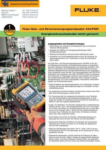 Fluke 434/PWR Produktprospekt - Industrievertretung R. Krause ...