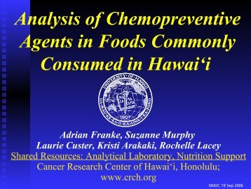 Analysis of Chemopreventive Agents in Foods Commonly ...