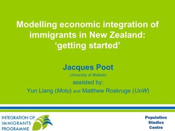 Modelling economic integration of immigrants in New Zealand ...