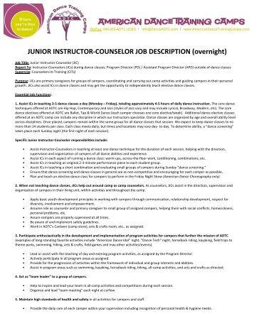Junior Instructor Counselor Job Description   American Dance .  Dance Instructor Job Description