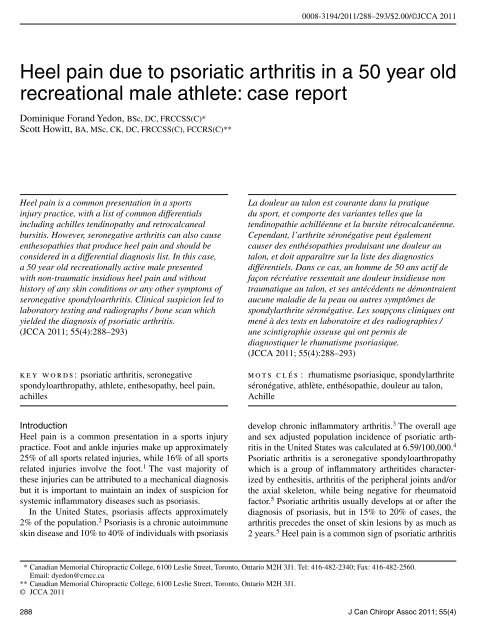 Heel pain due to psoriatic arthritis in a - Journal of the Canadian