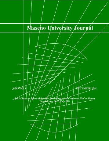 Maseno University Journal Volume 1 2012