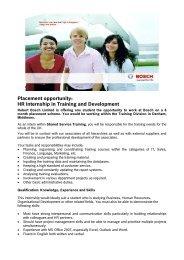 HR Internship in Training and Development - Bosch-Career