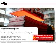 Pipes and heavy plates – Continuous casting solutions for ... - IIM