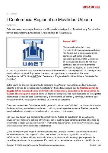 I Conferencia Regional de Movilidad Urbana - Noticias - Universia ...