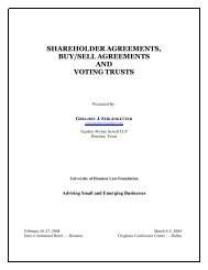shareholder agreements, buy/sell agreements and voting trusts