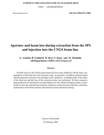 Aperture and beam loss during extraction from the ... - CNGS - CERN